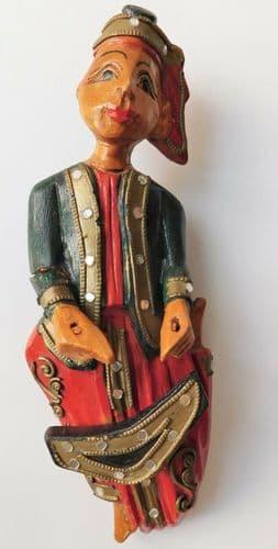 3 wooden musician figures wall hanging ornaments vintage Thailand Tibet Burmese